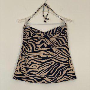 Catalina Tiger Animal Print Bandeau Tankini Top L